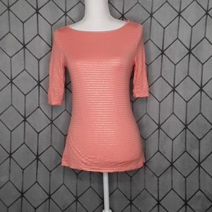Apt 9 Coral Top with Gold Stripes